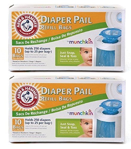 Munchkin Arm & Hammer Diaper Pail Refill Bags 10-Count Pack of 2 by Arm & Hammer