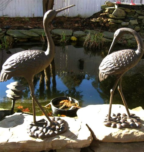 Pair of Large Iron Egrets ~ Egret Garden Statue ~ Rust