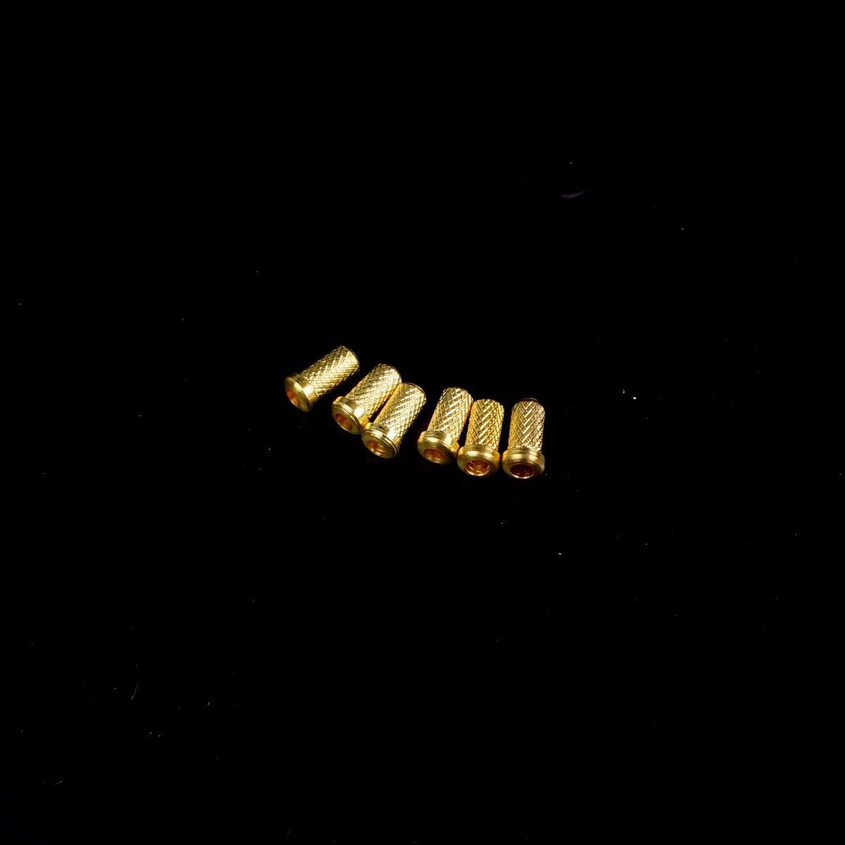 GOLD TOP MOUNT LOADING STRING-THRU BODY 4MM MINI GUITAR FERRULES SET OF 6