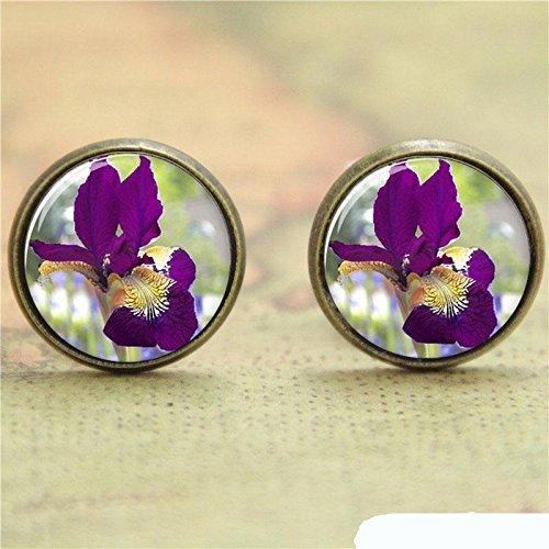 - Vintage Burgundy Iris Earrings Handmade Accessories-Bronze Purple Flowers Glass Dome Picture Ear Ring-Jewellery For Women