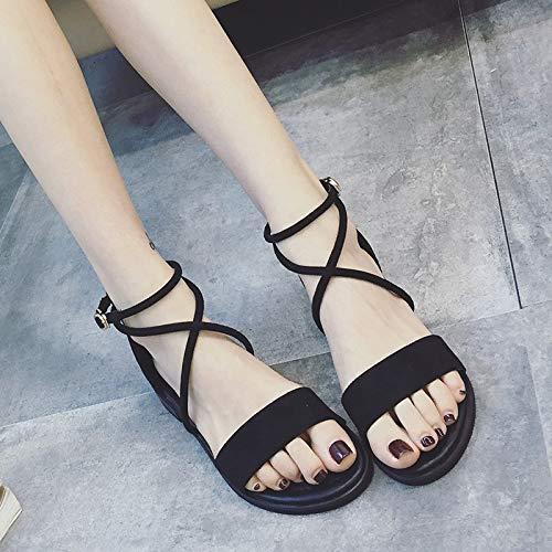 Sandales Chaussures Cent Croix Trente Sandales Boucles Femmes Rome huit tudiantes Cravates Kphy t Noir x5EwXq