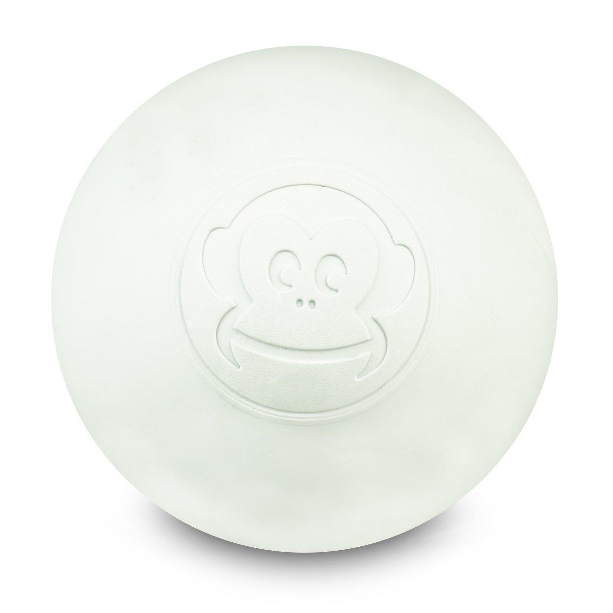 Captain LAX Massageball Original - Lacrosseball in der Farbe Weiß , aus Hartgummi, mit den Maß en 6 x 6 cm geeignet fü r Triggerpunkt- & Faszienmassage/Crossfit