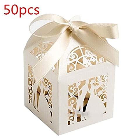 50pcs Laser Cut Wedding Sweets Love Bird Cage Wedding Favor Candy Gift Boxes - Carnival Tuxedo Collection