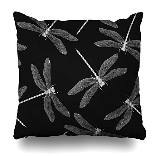 (Ahawoso Decorative Throw Pillow Cover Insect Silver Pattern Dragonflies Dragonfly Outline Abstract Black Color Colored Design Graphic Home Decor Zippered Square Size 16