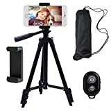 Behomy 42 Inch Aluminum Smart Phone Camera Tripod ,Phone Tripod with Phone Holder and Bluetooth Shutter Control Remote,Tripod for iPhone,Android Smart phone and Camera with Storage Bag (Black)