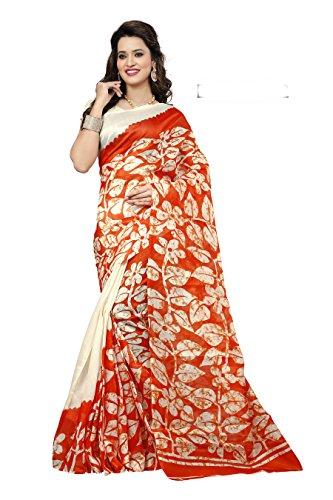 ner Orange Bhagalpuri Silk Printed Saree ()