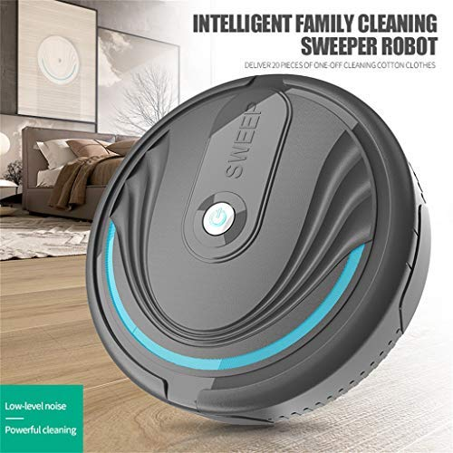 Maikouhai Automatic Intelligent Smart Sweep Robot Household Vacuum Cleaner Floor Cleaner Sweeping Machine Auto Floor Cleaning Sweeper for Pet Hair, Crumbs, Dust, Debris - 220V, 23X6.5X23CM (Black)