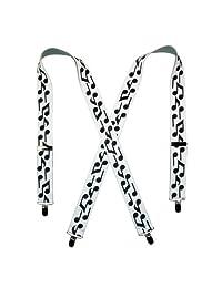 CTM® Men's Elastic Clip-End Musical Notes Suspenders, Black Notes on White