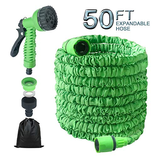 BeeTwo Garden Water Hose, 50 Feet Expandable Garden Hose Set, Double Latex Core with 3/4