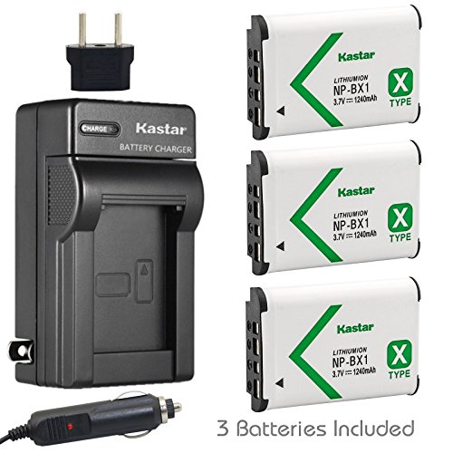 Kastar Battery (3-Pack) and Charger for Sony NP-BX1 M8 ACC-TRBX and Cyber-shot DSC-HX50V HX300 RX1 RX1R RX100 RX100M RX100M3 WX300 HDR-AS10 AS15 AS30V AS100V AS100VR CX240 MV1 PJ275 DSC-HX99 Cameras ()