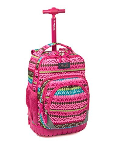 Tilami New Antifouling Design 18 Inch Oversized Load Multi-Compartment Wheeled Rolling Backpack Luggage for Kids, Pink Heart