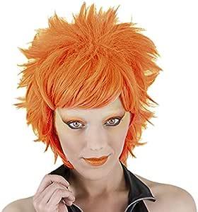 Funny Costumes - Peluca Crazy, adulto, color neón naranja, talla ...