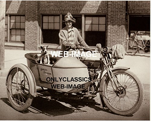 OnlyClassics 1914 VINTAGE HARLEY DAVIDSON SIDECAR MOTORCYCLE 8X10 PHOTO WOMAN RIDER,BOXER DOG ()