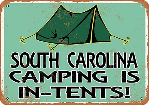 Sylty 12 x 16 Metal Sign - South Carolina Camping is in-Tents Coffee House or Home