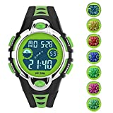 Siniya Kids Watch Quartz Watch Waterproof Swimming Sports Watch Boys Girls Led Digital Watches for Kids (7 Colors Black Green)