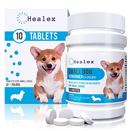 Healex 10 Tablets Small Dog (2-25lbs) Dewormer for Tapeworm, Roundworm, Whipworm, Hookworm, and Nematode | Works for Puppies, Broad Spectrum Dewormer | Helpful E-Book Included