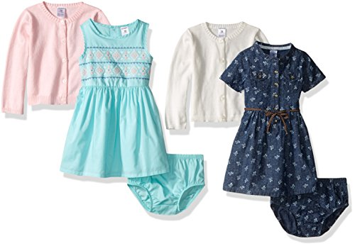 Carter's Girls' 6-Piece Cardigan and Dress Set, Denim, 3 Months