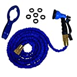 Expandable 50 Foot Hose Kit by RAAYA - Garden Hose with Expanding 3 Layers Brass Shut-Off Valve, 8-Setting Spray Nozzle, 6 Washers, & Hose Hanger - Strong, Flexible, Heavy Duty!