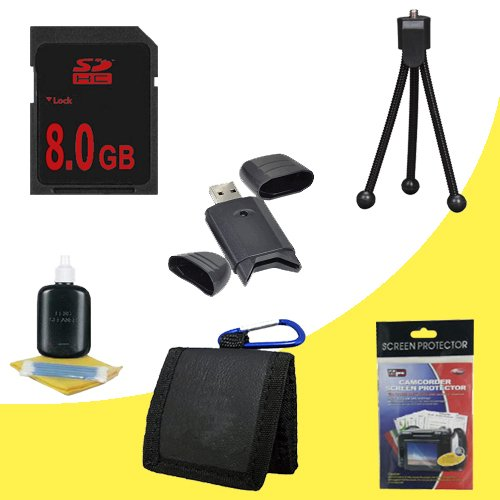 8 GB Class 10 SDHC Flash Memory Card + USB Reader + Bonus Starter Kit for Canon EOS Rebel T1i XS XSi Digital SLR Camera DavisMAX Accessory Bundle
