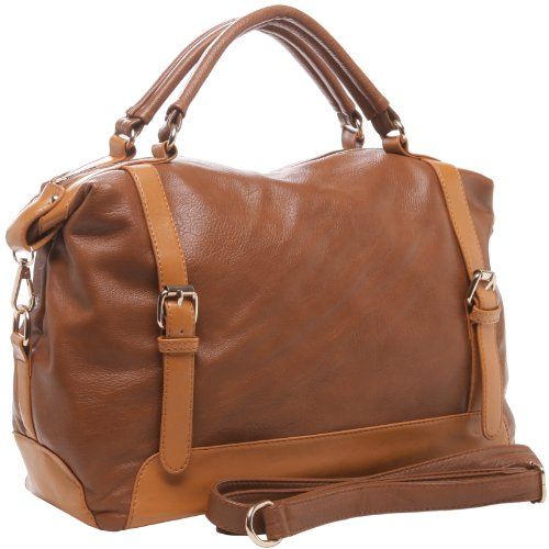 PHYLLIS Brown Belts Decor Top Double Handle Bowling Style Office Tote Satchel Hobo Shoulder Bag Handbag Purse, Bags Central
