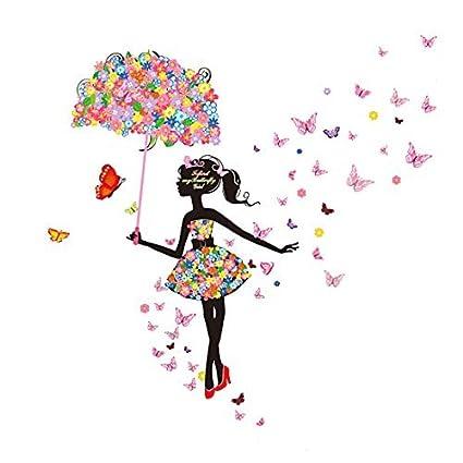 La flor de mariposa eDealMax paraguas chica extraíble Inicio del arte etiqueta de la pared del