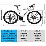 JXH-26-Bici-Pollici-di-Montagna-Doppio-Freno-a-Disco-per-Mountain-Bike-Hardtail-Uomo-Bicicletta-Sedile-Regolabile-ad-Alta-Acciaio-al-Carbonio-Telaio-21-velocit-Bianco-6-Razze
