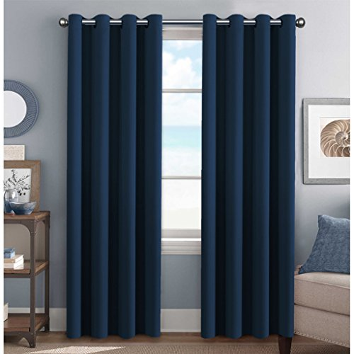 H.Versailtex Premium Blackout Navy Curtains Thermal Insulated Home Fashion Window/Door Panel Drapes For Living Room,Antique Grommets ,52