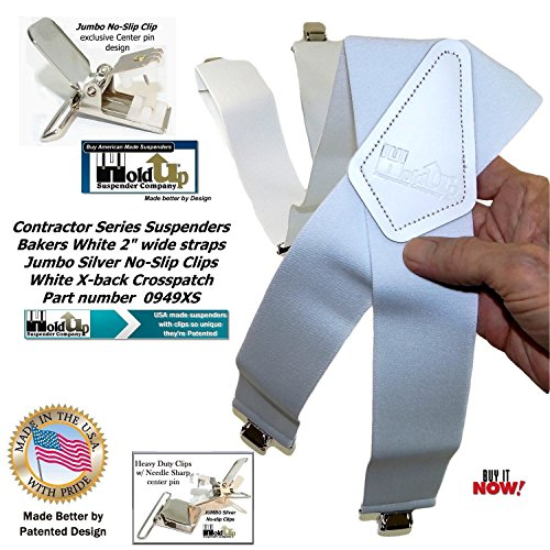 Contractor Series 2'' Wide Work X-back Suspenders in Bakers White with jumbo No-Slip Patented Clips by Hold-Up Suspender Co. (Image #4)