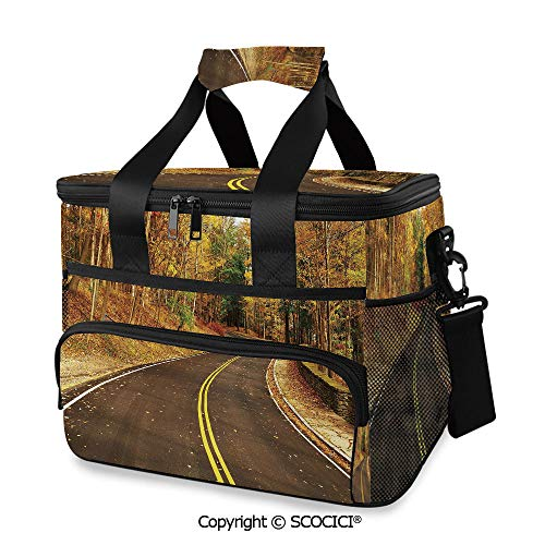 SCOCICI Cooler Cooling Tote Bag Autumn Scene with Curvy Road in Forest at Letchworth State Park New York USA Decorative for Camping, Picnic, BBQ, Family Outdoor Activities