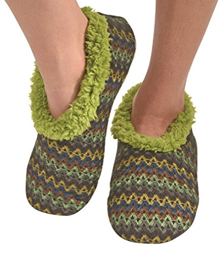 Snoozies Womens Wiggle Stripe Comfy Soft Fleece Slipper Socks - Green, Large