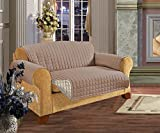 Elegant Comfort Reversible Quilted Furniture Protector- Special Treatment Microfiber As Soft as Egyptian Cotton, Taupe Love Seat