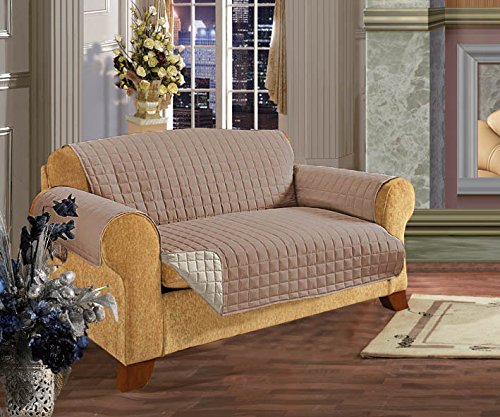 Elegant Comfort REVERSIBLE QUILTED Furniture Protector- Special Treatment Microfiber As soft as Egyptian Cotton, Taupe Sofa