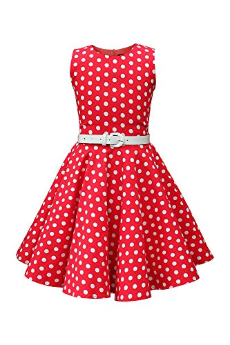 BlackButterfly Kids 'Audrey' Vintage Polka Dot 50's Girls Dress (Red, 7-8 YRS)