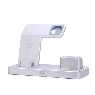 [Airpods Cargador Soporte] Wero iWatch estación de carga iPhone/iPad cargador Dock Soporte [4 en 1 soporte] para Airpods/Apple Watch serie 2/1/iPhone ...