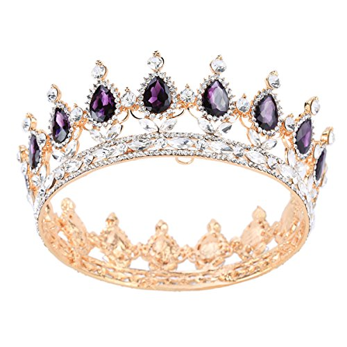 Stuff Crystal Crown Tiaras Prom Party Wedding Bridesmaid Hair Piece with Bobby Pins (Amethyst) (Purple Rhinestone Crown)