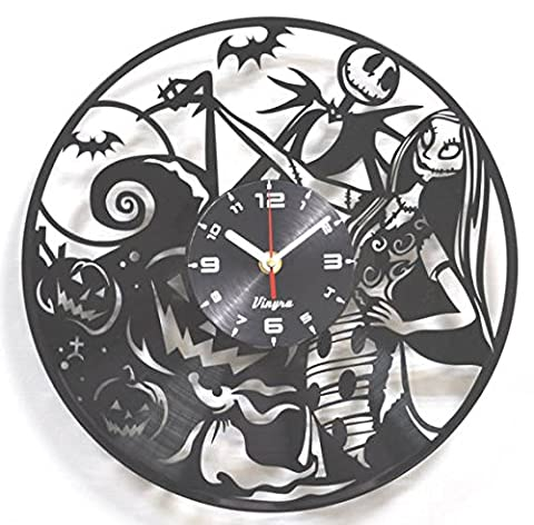 Nightmare Before Christmas Vinyl Clock Wall Decorations Art Disney Jack and Sally Modern Record Clock Kids Room Decor Vinyl Wall Decal Art Unique Children Clock for Living Room Jack Skellington (Country Lyrics Sticker)