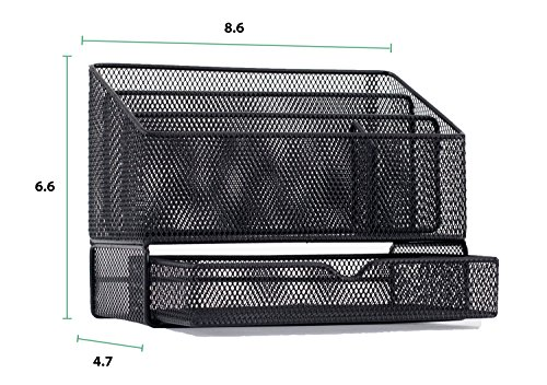 Equippt Desk Organizer Caddy with Draw, Letter Holder & Mail Organizer for Offices out of Black Steel Mesh by Equippt (Image #5)