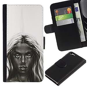 All Phone Most Case / Oferta Especial Cáscara Funda de cuero Monedero Cubierta de proteccion Caso / Wallet Case for Apple Iphone 6 // Dark Beauty - B&W Girl