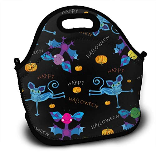 Lunch Bag Thermal Bags Tote Happy Halloween Kids Washable Lunch Box Bag With Shoulder Strap For Office Outdoor Picnic Meal Package Gym