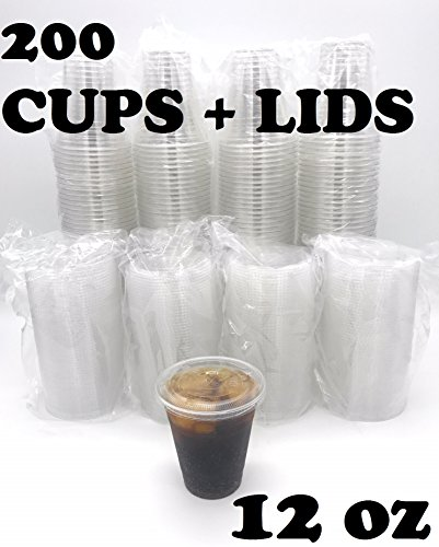 (200 SETS) Plastic Disposable Cups with Lids - Premium 12 oz (ounces) Crystal Clear PET for Cold Drinks Iced Coffee Tea Juices Smoothies Slush Soda Cocktails Beer Kids Safe (12oz Cups + Flat Lids)