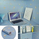 SimpleLife4U Blue Shelf Drawer Liner Peel & Stick Yellow Moon Waterproof Storage Locker Sticker 17.7 Inch By 13 Feet
