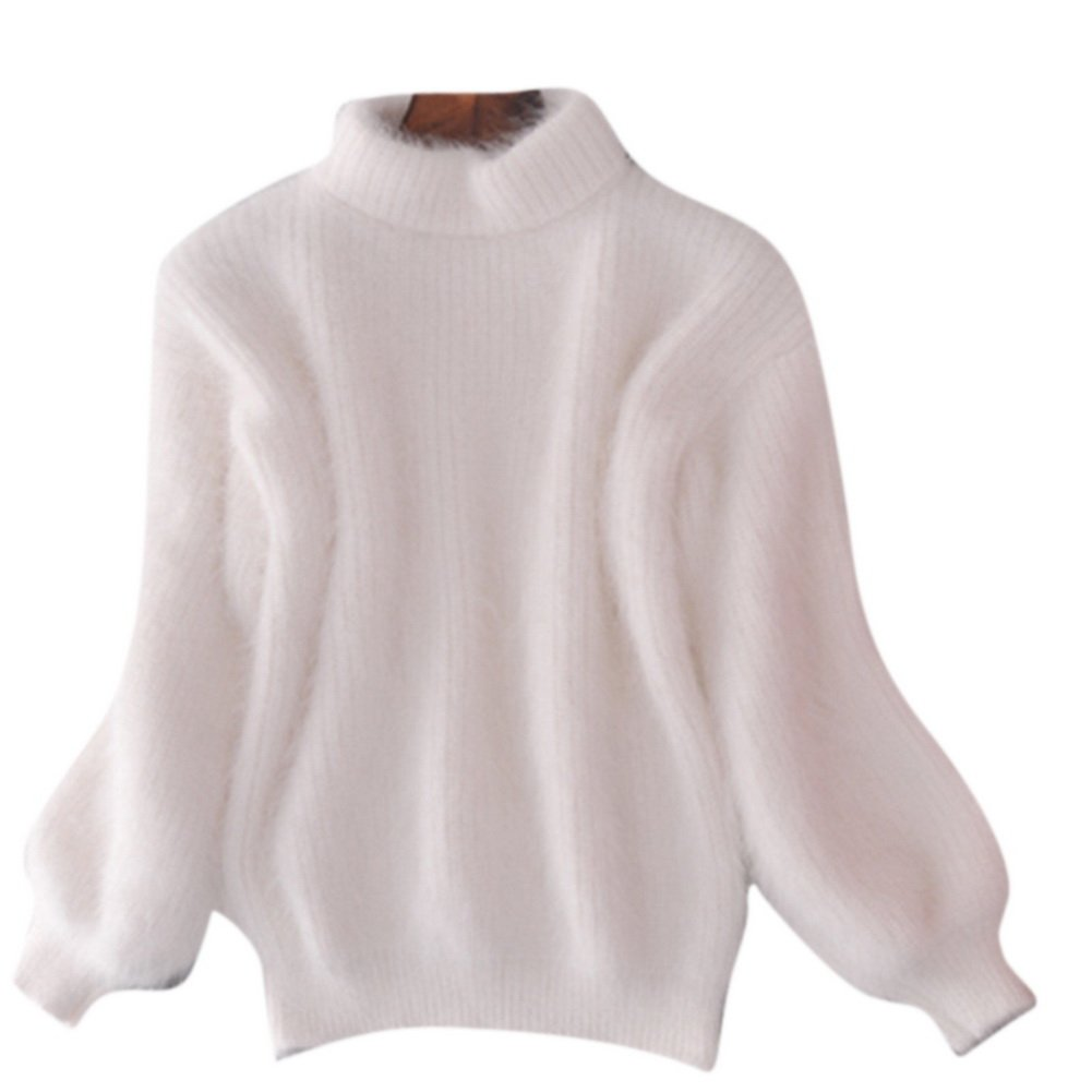 Women's Winter Thick Mohair Fluffy Fuzzy Short Sweater Batwing Sleeve Top White