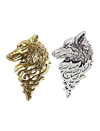 MonkeyJack 2 Pieces Vintage Wolf Brooch Pin Badge Lapel Pin Shirt Suit Men Jewelry Gift