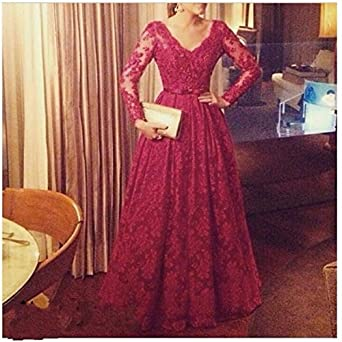 2016 Custom Made Dark Red Prom Dress Plus Size A Line Gowns Lace With Long Sleeves