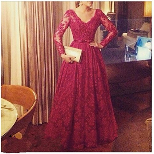2016 Custom Made Dark Red Prom Dress Plus Size A Line Gowns Lace With Long Sleeves V-Neck Homecoming Vestido De Festa JYS0494 Size : 12: Amazon.co.uk: ...