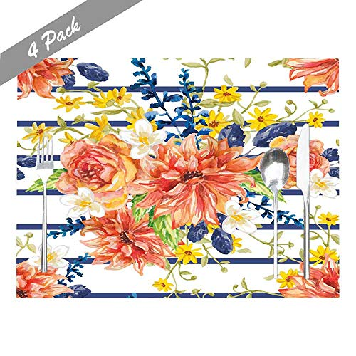 Shorping Place Mats for Kitchen Table, Childrens Place Mats Non Slip Washable Reusable Placemats Set of 4 18X12 Inch Indoor Outdoor Holiday Thanksgiving Christmas Placemat Red Orange Yellow Flowers (Victorian Christmas Wallpaper Scenes)