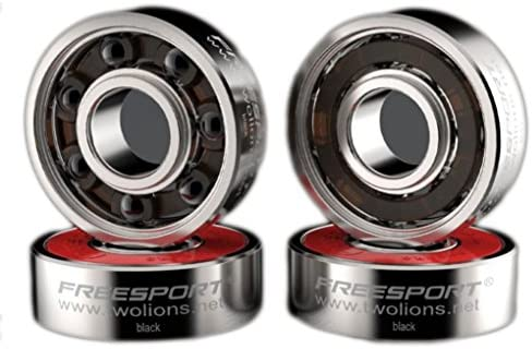 TwoLions High Speed 608RS Stainless Steel Hybrid Black Ceramic Bearings for Inline Skates or Skateboard or Scooter or Quad Roller Skates (Pack of 8)