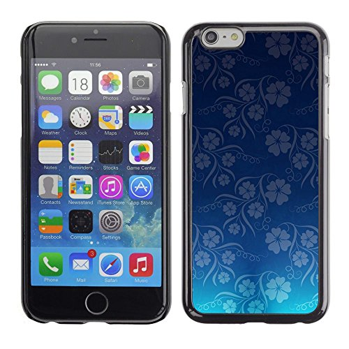 TopCaseStore / caoutchouc Hard Case Housse de protection la Peau - Wallpaper Blue Flowers Floral Pattern - Apple iPhone 6