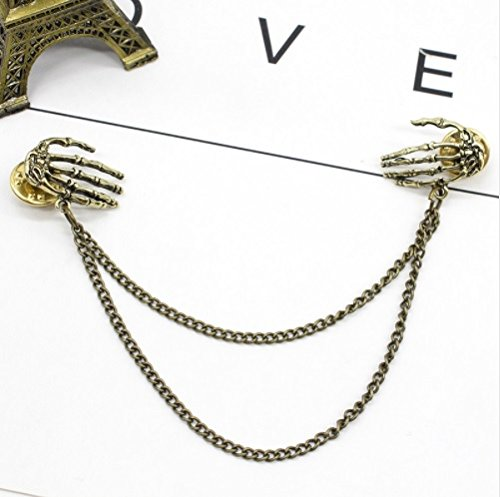 1pc Retro Punk Style Skull Claw Brooch Shougu Shirt Collar Pin Collar Chain Alloy - Antique Bronze Plate (Claw Brooch)
