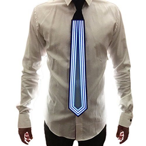 Men Light Up Ties - LED Clothing Sound Activated Glow Tie Novelty Necktie for Birthdays Rave Party Festivals (Led Light Suits)